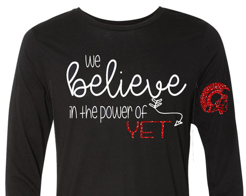 We Believe in the Power of YET Glittery Trojan Crewneck Triblend Long Sleeve Tee Shirt