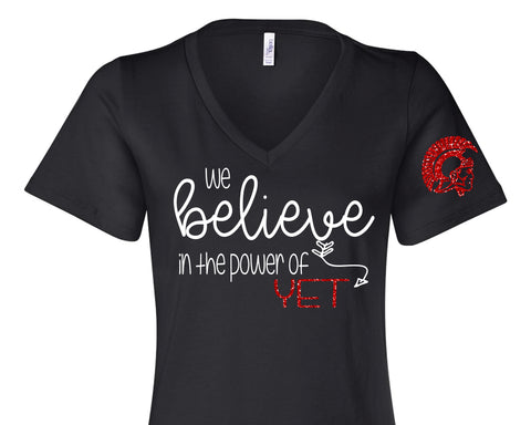 We Believe in the Power of YET Glittery Womens Trojan V-neck Triblend Tee Shirt