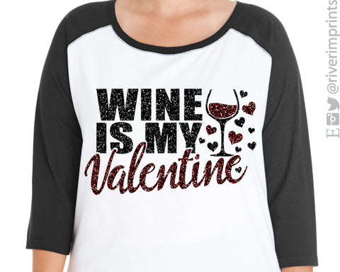 Wine is My Valentine Glittery Curvy Women's 3/4 sleeve raglan shirt