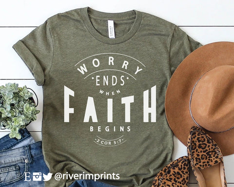 WORRY ENDS WHEN FAITH BEGINS Blend Tee Shirt