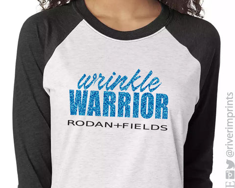 WRINKLE WARRIOR Glittery Triblend Raglan by River Imprints