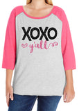 XOXO Y'ALL Curvy Collection Glittery Cotton Raglan
