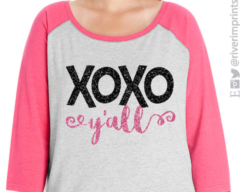 XOXO Y'all Glittery Curvy Collection Women's Valentine Raglan