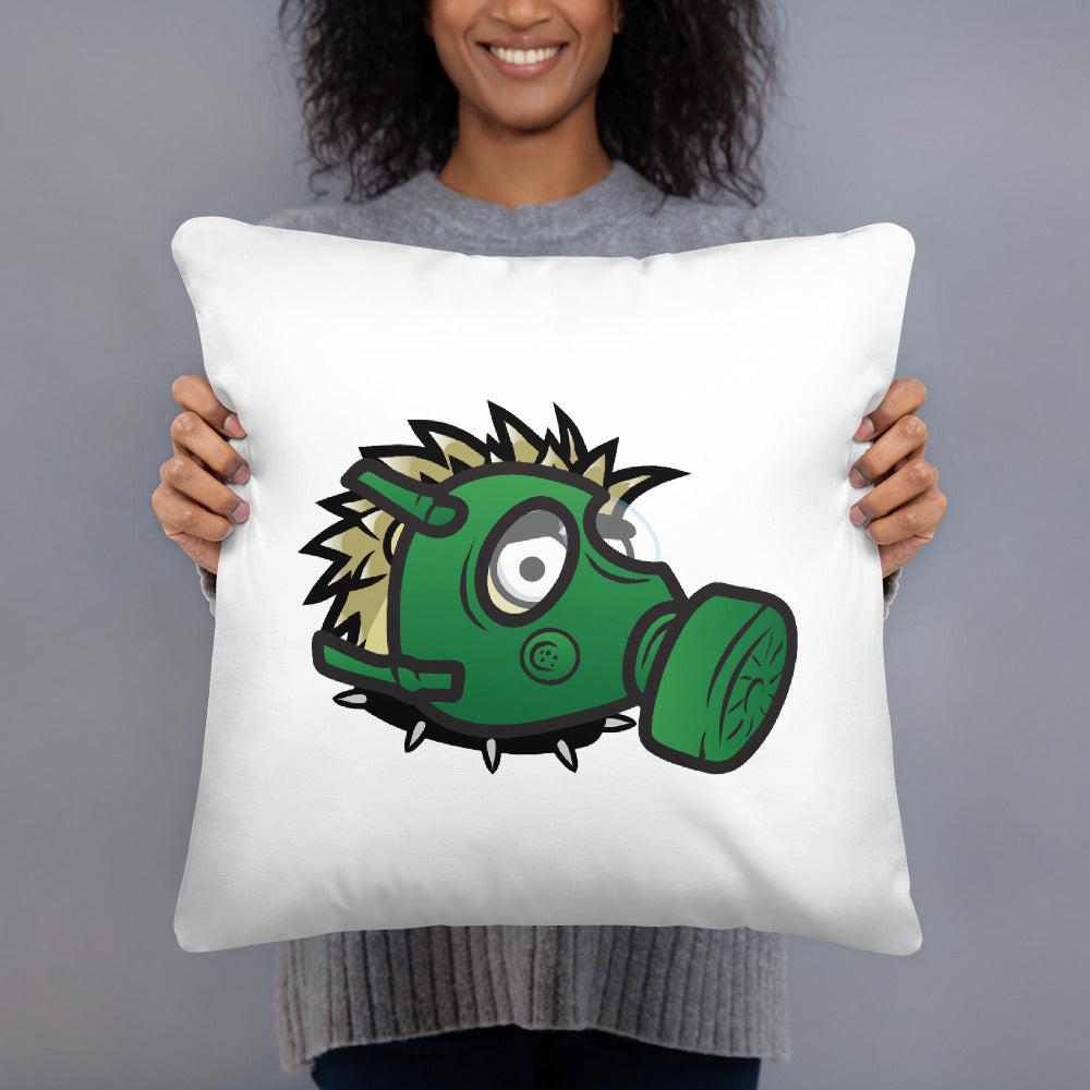 Square Pillow - hedgehog - black logo