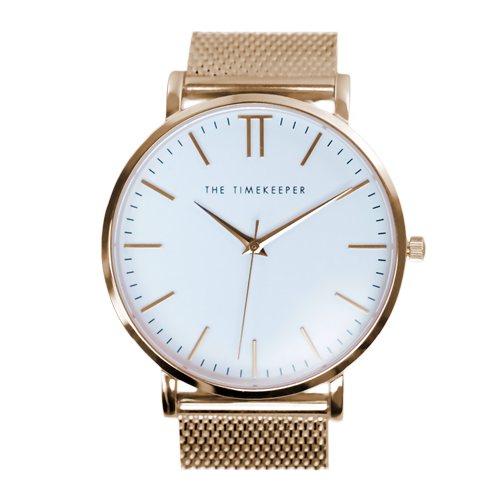 White / Rose Gold / Rose Gold Mesh - The Timekeeper
