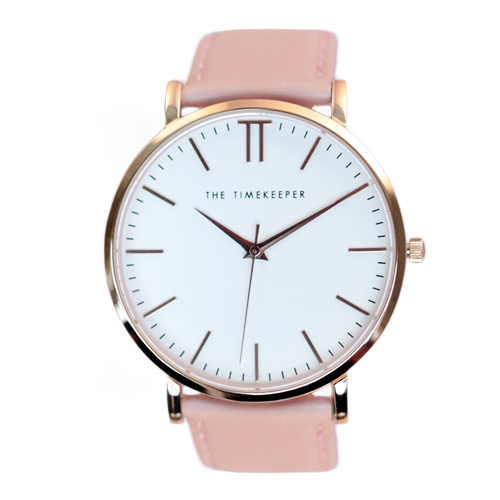 White / Rose Gold / Peach Leather - The Timekeeper