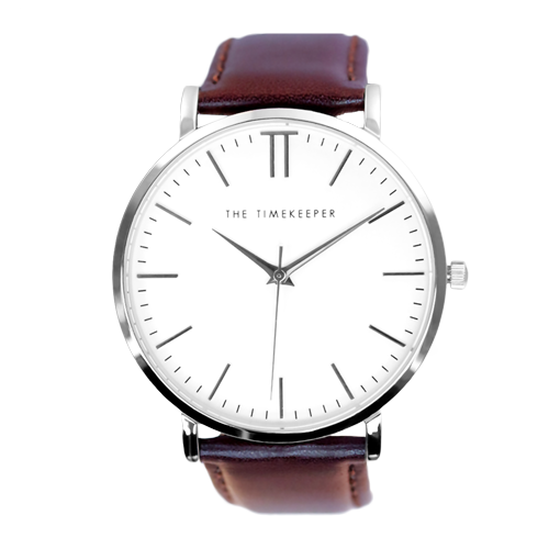 White / Silver / Dark Brown Leather - The Timekeeper
