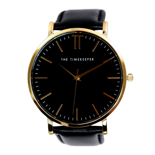 Black / Gold / Black Leather - The Timekeeper