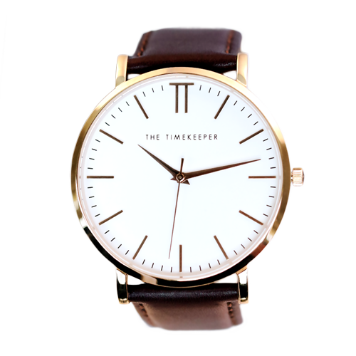 White / Rose Gold / Dark Brown Leather - The Timekeeper