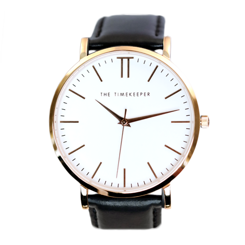 White / Rose Gold / Black Leather - The Timekeeper