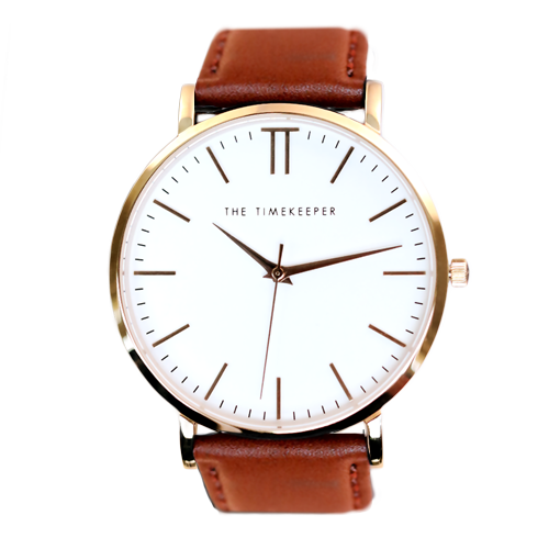 White / Rose Gold / Tan Leather - The Timekeeper