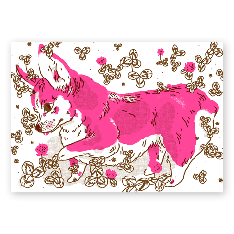 Pink Corgi Poster in Blue or Brown