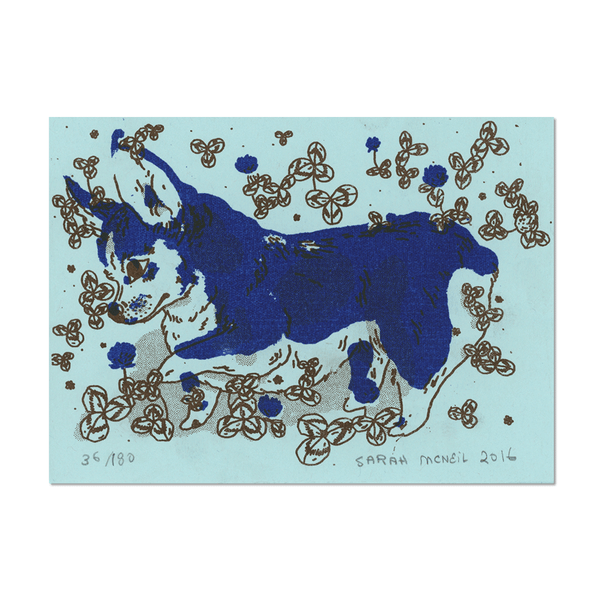 Corgi Print on Blue Paper