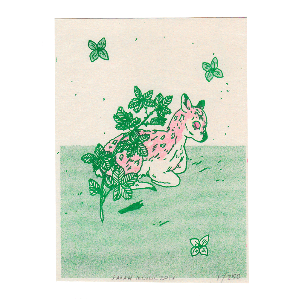 Blackberry Deer Risograph Print