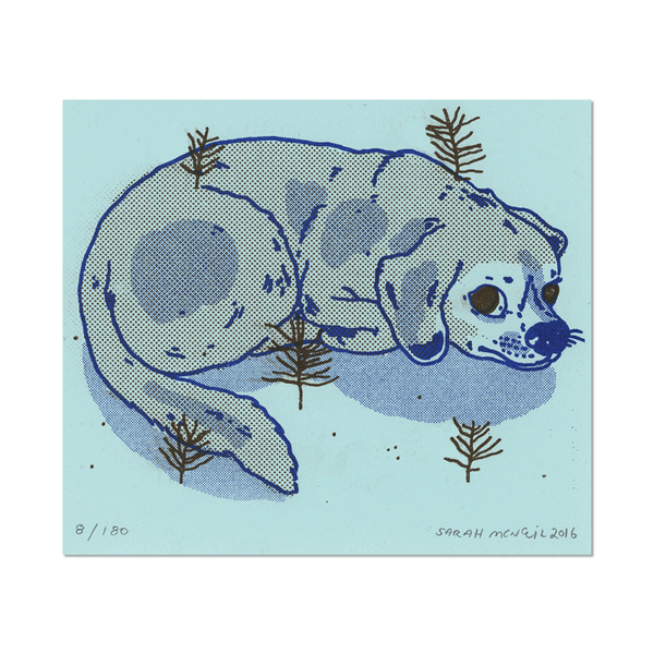 Dog Print on Blue Paper