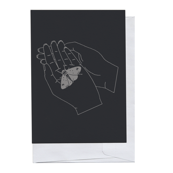 Grey on Black Moth in Hand Card