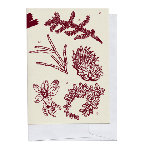Burgundy Plant Pieces Card