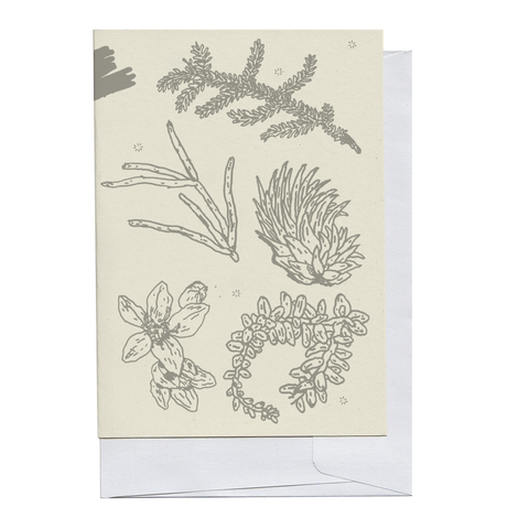 Grey Plant Pieces Card