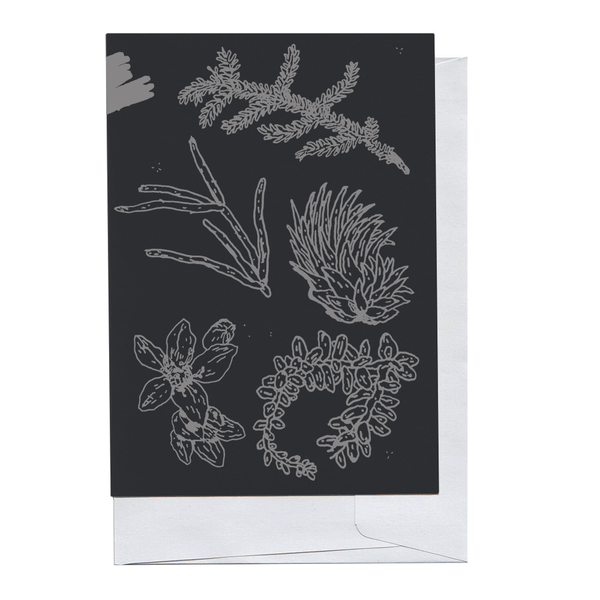 Grey on Black Plant Pieces Card