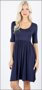 Navy Half Sleeve Scoop Neck Dress *In Stock*
