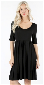 Black Half Sleeve Scoop Neck Dress *In Stock*