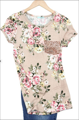 Sequin Floral Top In Stock