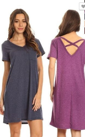 Cross Back Pocket Tee Dress *In Stock*