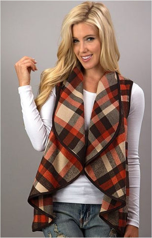 Plaid Waterfall Vest In Stock