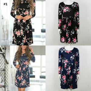 Floral Long Sleeve Short Dress In Stock