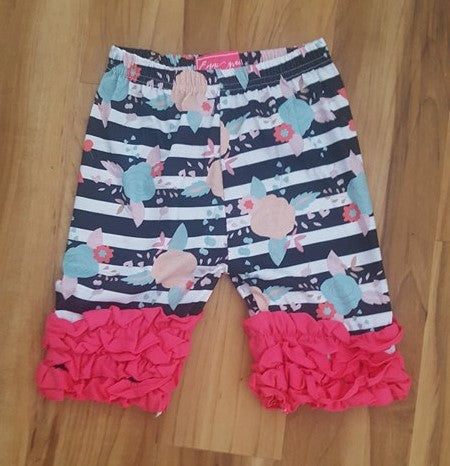 Girl's Size 7/8 Floral/Striped Ruffle Shorts Stock
