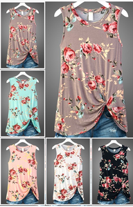 Floral Front Knot Tank *In Stock*