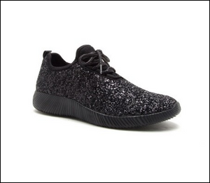 Women's Black Glitter Sneakers *In Stock*
