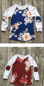 Girl's Floral Print Elbow Patch Top In Stock