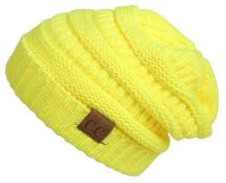 Women's Neon Yellow CC Beanie In Stock