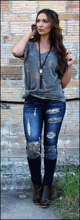 Sequin Detail Skinny Jeans In Stock