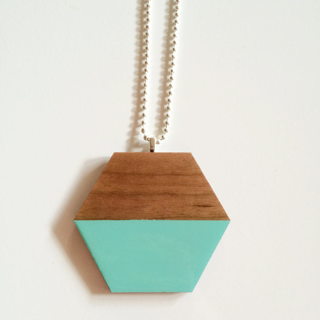 Mint Hexagon Wooden Pendant