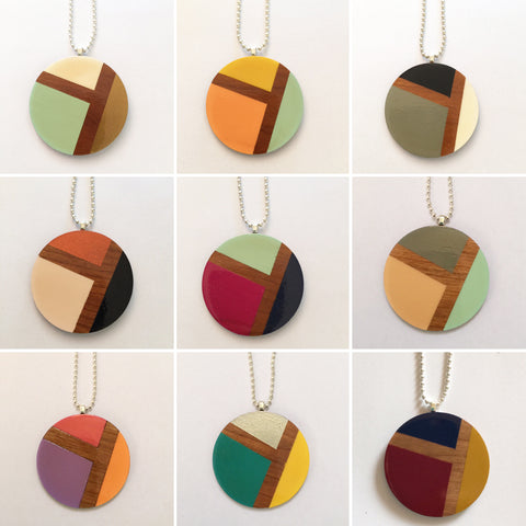 Circle Wooden Geometric Pedant Necklace