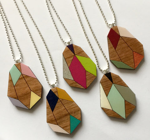 Geometric Gem Wooden Pendant Necklace