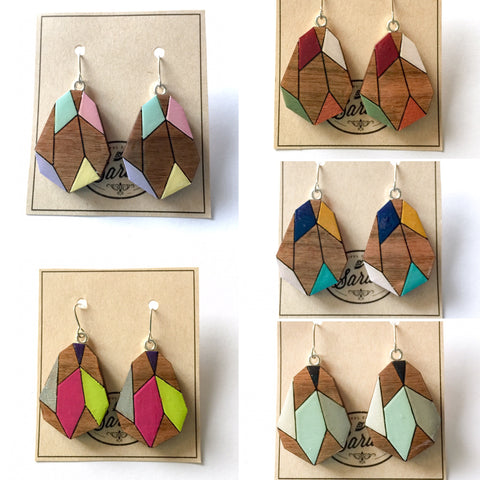 Geometric Gem Wooden Earrings