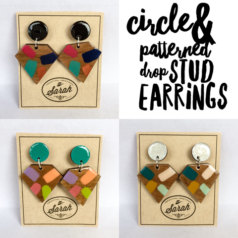 Circle & Patterned Drop Stud Earrings