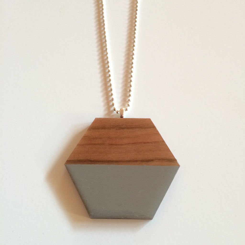 Grey Hexagon Wooden Pendant