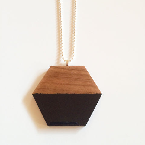 Black Hexagon Wooden Pendant