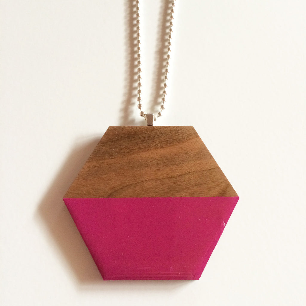 Hot Pink Hexagon Wood Pendant