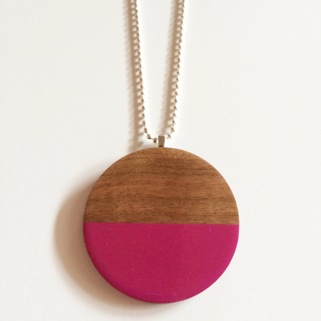 Hot Pink Circle Wooden Hexagon Pendant