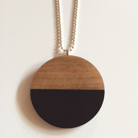Black Circle Wooden Pendant