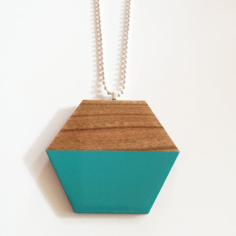 Aqua Hexagon Wooden Pendant
