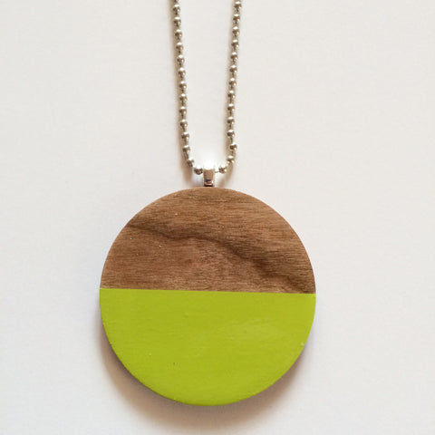Lime Wooden Circle Pendant