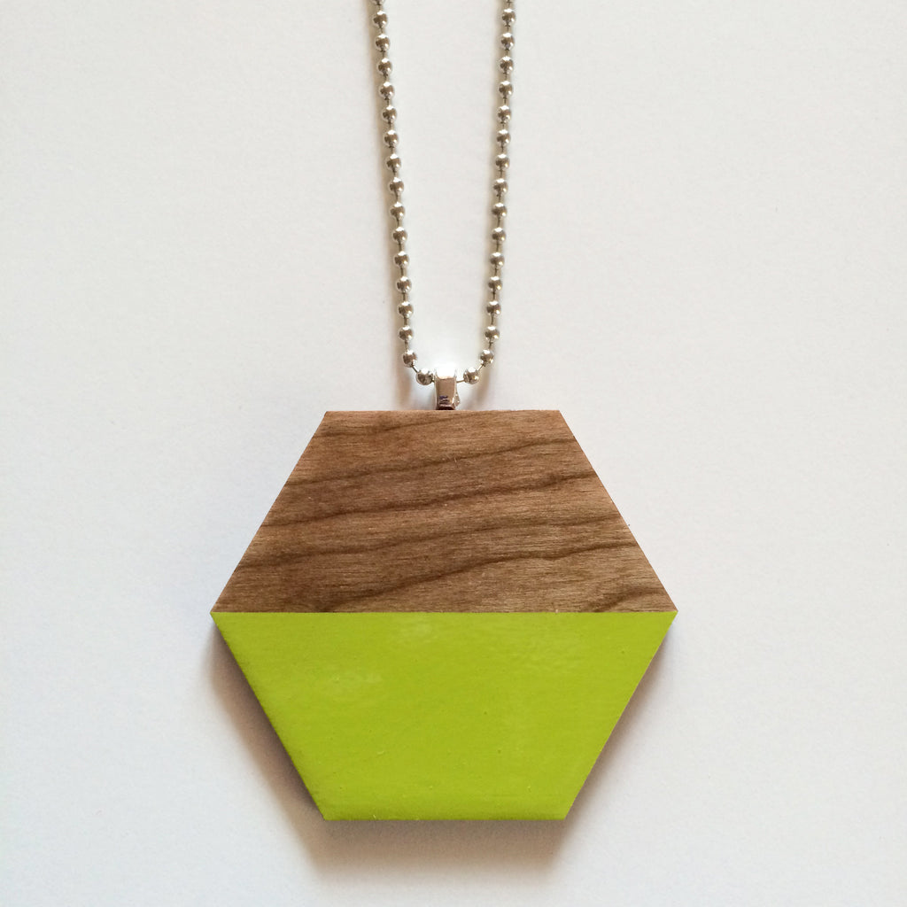 Lime Wooden Hexagon Pendant