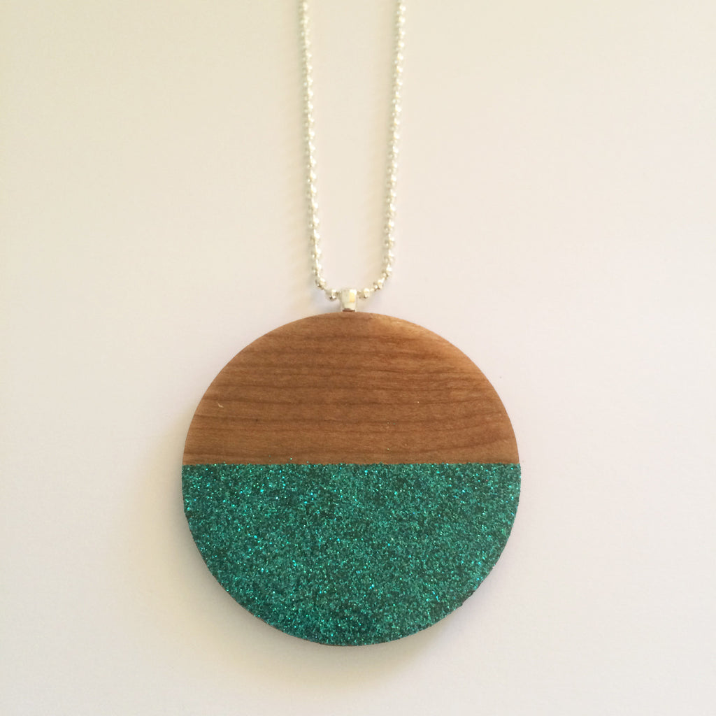 Teal Glitter Wooden Circle Pendant