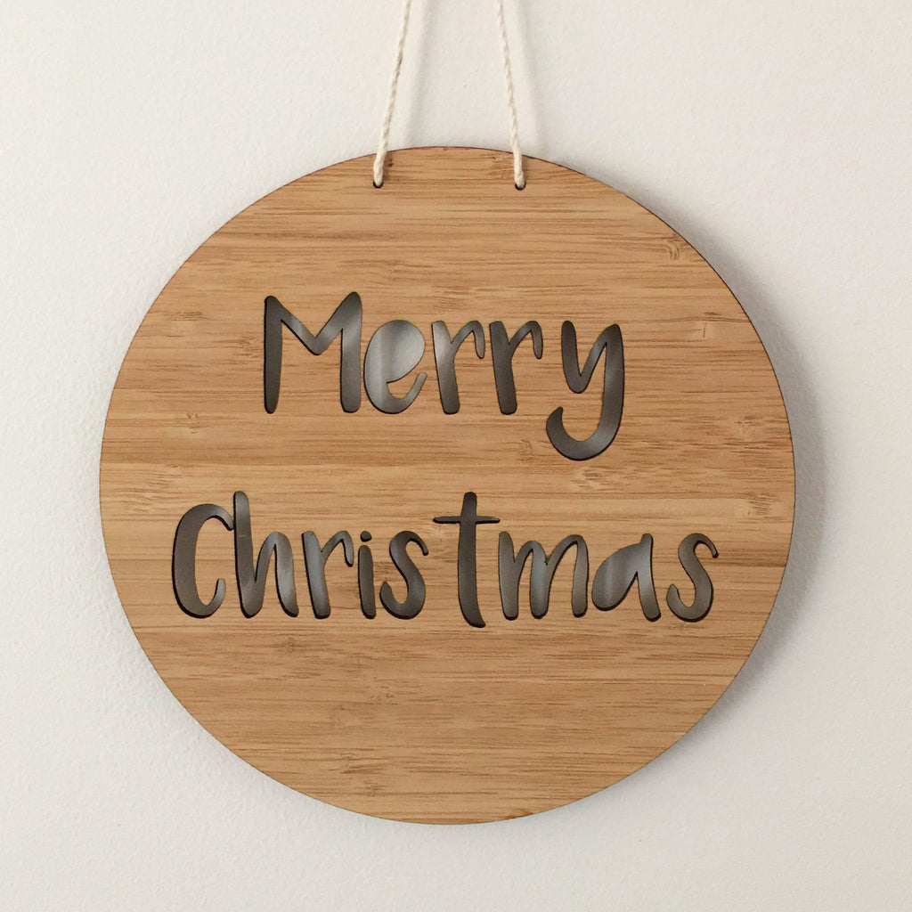 """Merry Christmas"" Laser Cut Wooden Sign"